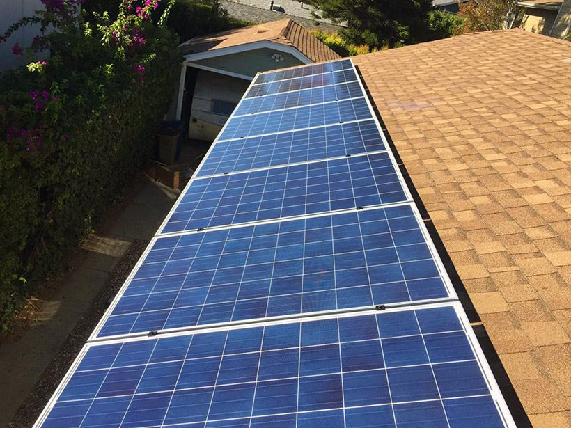 POLYCRYSTALLINE SOLAR PANELS MOUNTED ON ASPHALT SHINGLES
