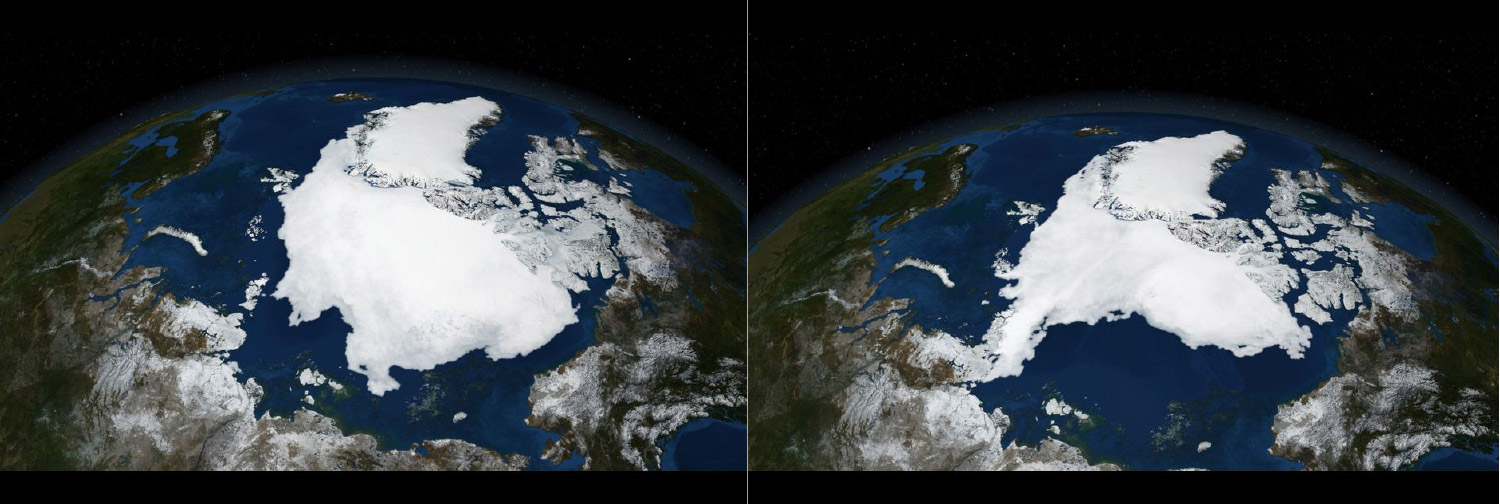 Satellite images from the Arctic ice pack in September 2005 and again in September 2007The Arctic ice pack is most extensive in the month of September. Yet NASA, which has been mapping it annually since 1979, has measured a 13% drop in its surface area per year. Source: NASA/GISS