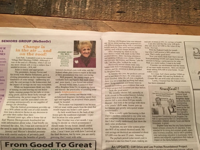 """Brighten Solar Co. in the Santa Barbara's """"The Mesa Paper""""!!"""